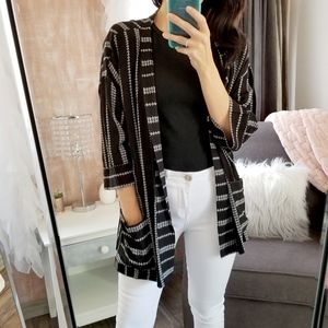 Sweaters - Black White Patteren Kimono Cardigan Pocket Cardi